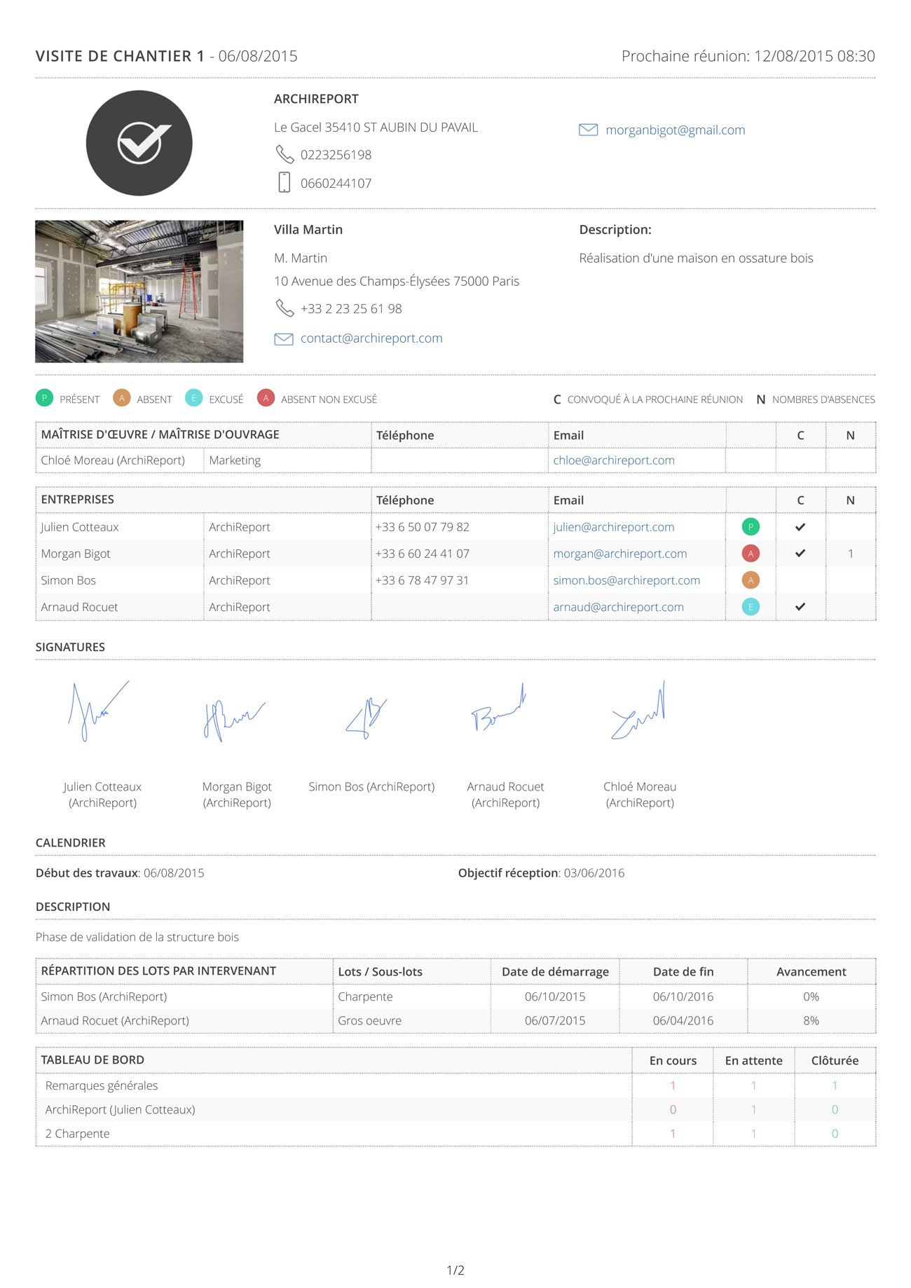ArchiReport, l'application de suivi de chantier