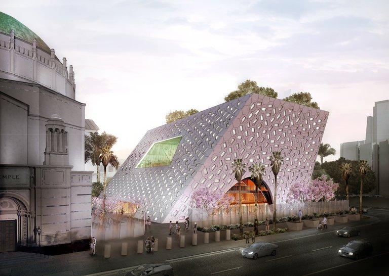OMA / Shohei Shigematsu : conception dévoilée pour Audrey Irmas Pavilion, une nouvelle extension du temple de Wilshire Boulevard à Los Angeles