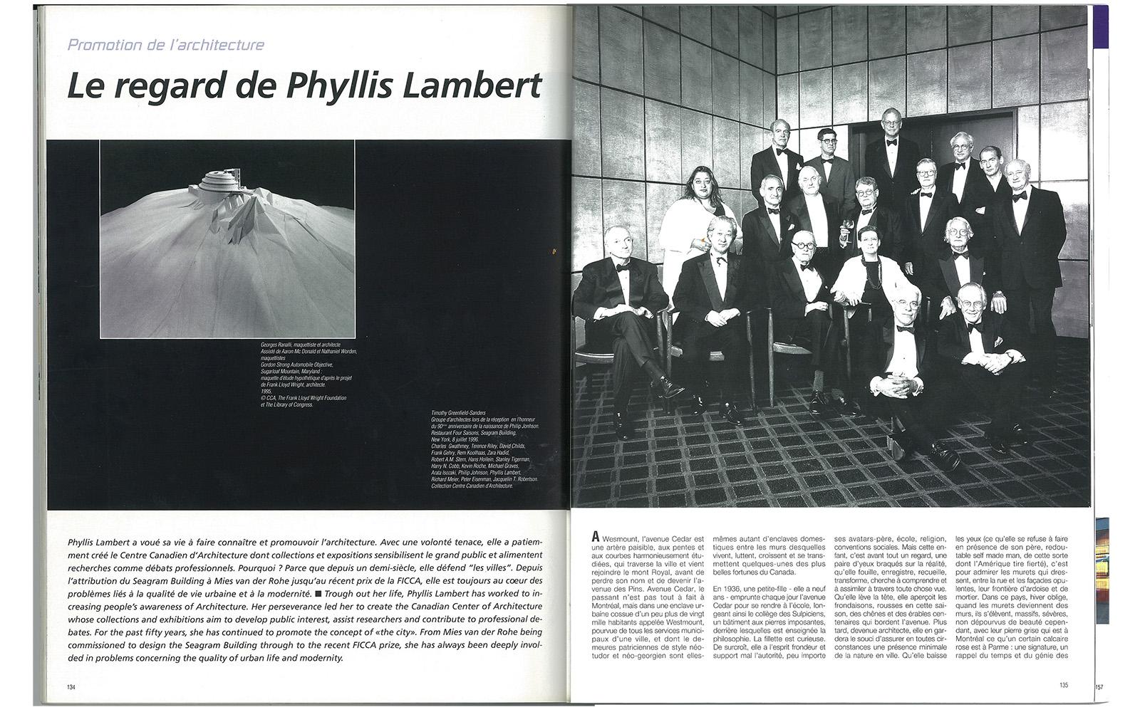 Rétro: Le regard de Phyllis Lambert
