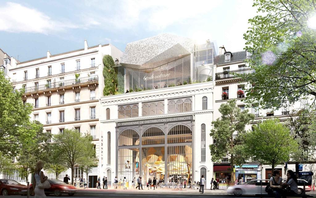 """Cinéma """"Etoile Voltaire"""", projet lauréat du site Sous-station Voltaire (Paris 11e). Olivier Palatre Architectes"""