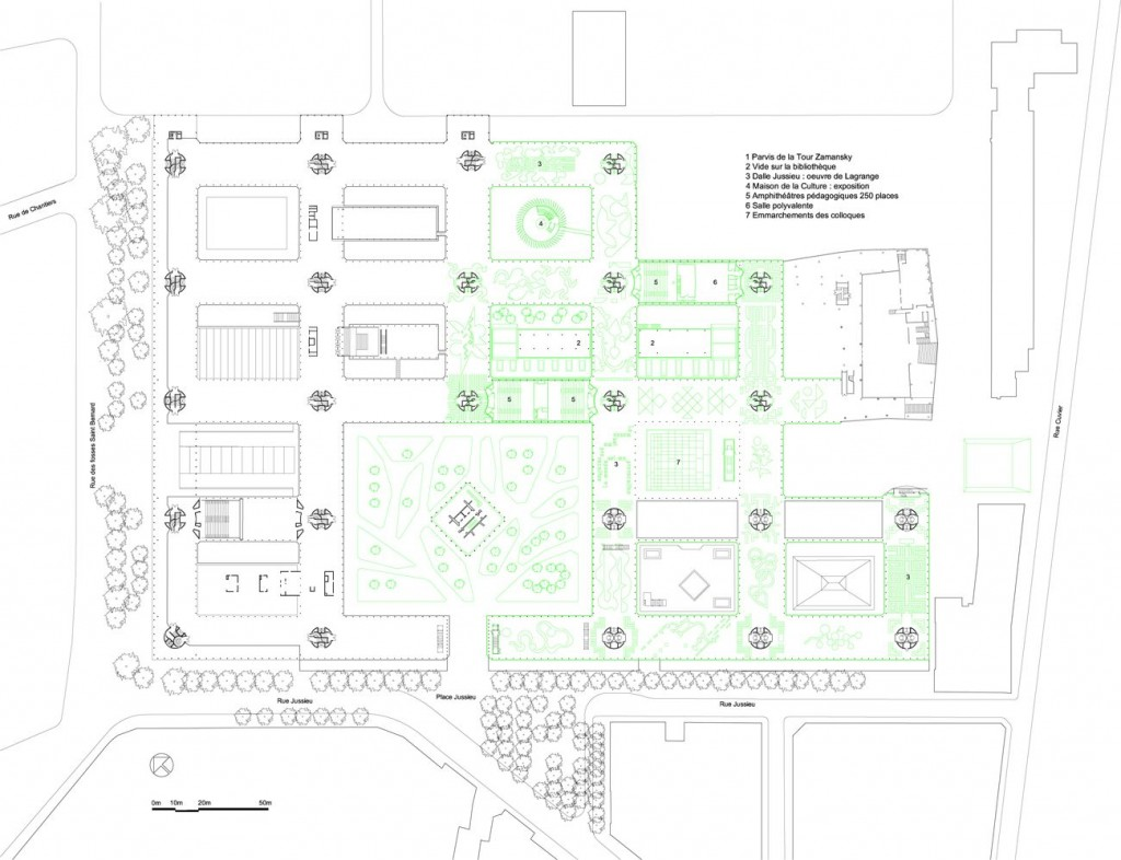 campus jussieu par architecture studio - plan RDC